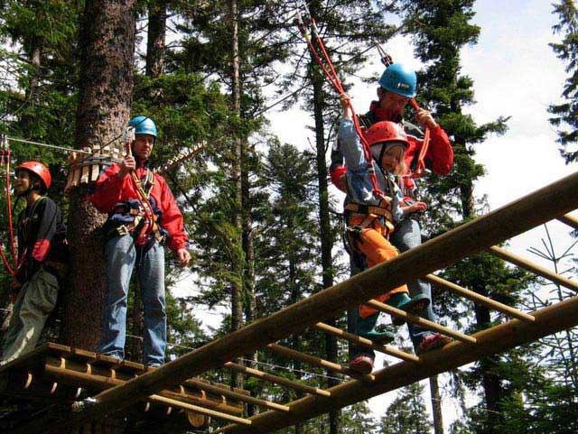 מטיילים על גשר עץ בפארק מֶליסקוׁפּף שביער השחור