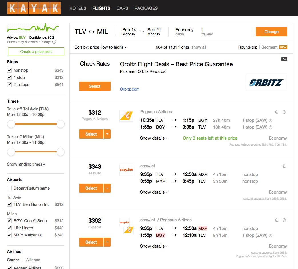 הטיסות הזולות ביותר מתל אביב למילאנו באתר Kayak