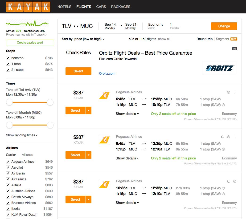 הטיסות הזולות ביותר מתל אביב למינכן באתר Kayak