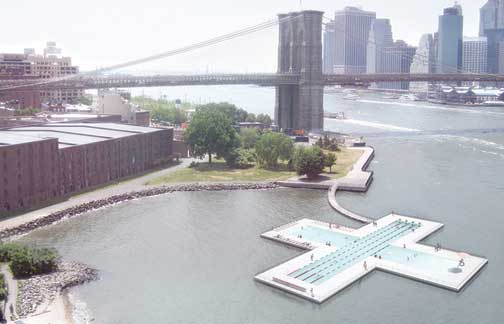 הדמיה של הבריכה צפה בנהר
