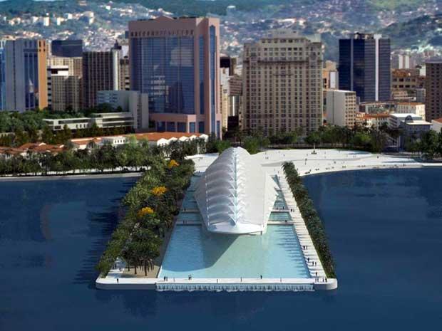 הדמיה של מוזיאון המחר במתחם הנמל