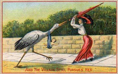 מניעת הריון בימים שלפני שיטת המודעות לפוריות (גלויה מהתקופה הויקטוריאנית)