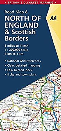 מפה AA בריטניה 200 (8) צפון אנגליה ודרום סקוטלנד