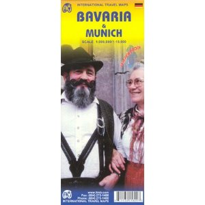 Bavaria and Munich/Munchen Travel Reference Map