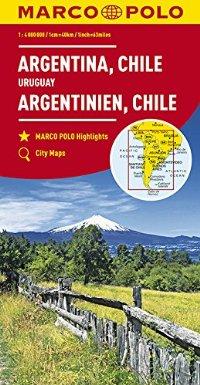 מפה MA דרום אמריקה דרום, ארגנטינה, צ'ילה, אורוגוואי