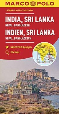 מפה MA הודו (כולל: נפאל בוטאן בנגלדש סרי לנקה)