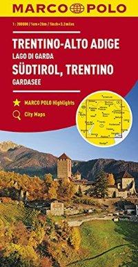 מפה MA טרנטינו, אלטו אדג'ו, איטליה צפון, אגם גארדה, טירול דרום,