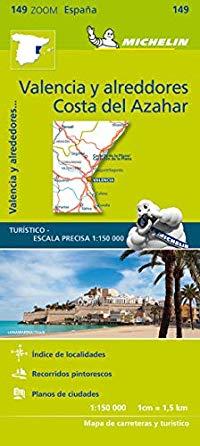 מפת ספרד זום 149 ולנסיה קוסטה דל אזהר מישלן