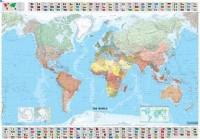 העולם מפת קיר - מפת עולם למינציה