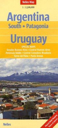 מפה NL ארגטינה דרום, פטגוניה, אורוגוואי